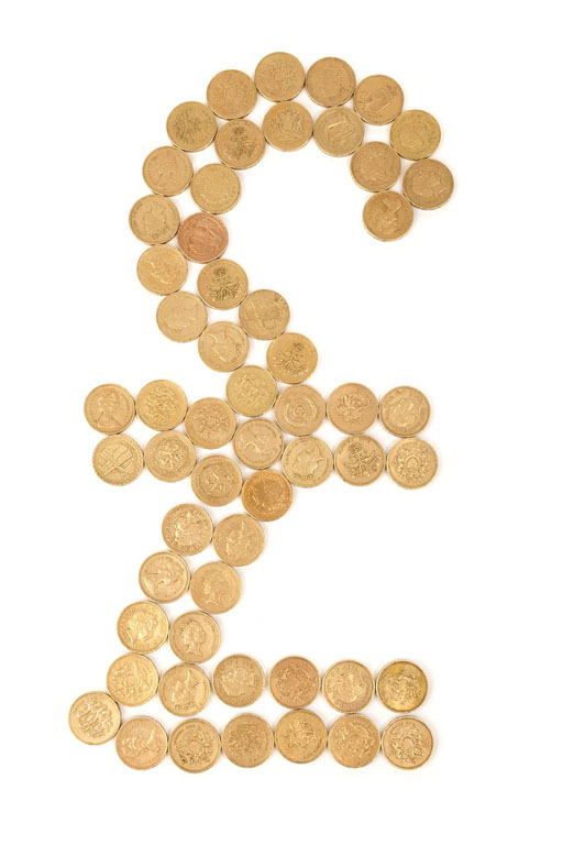 Image of pound coins in shape of sterling symbol