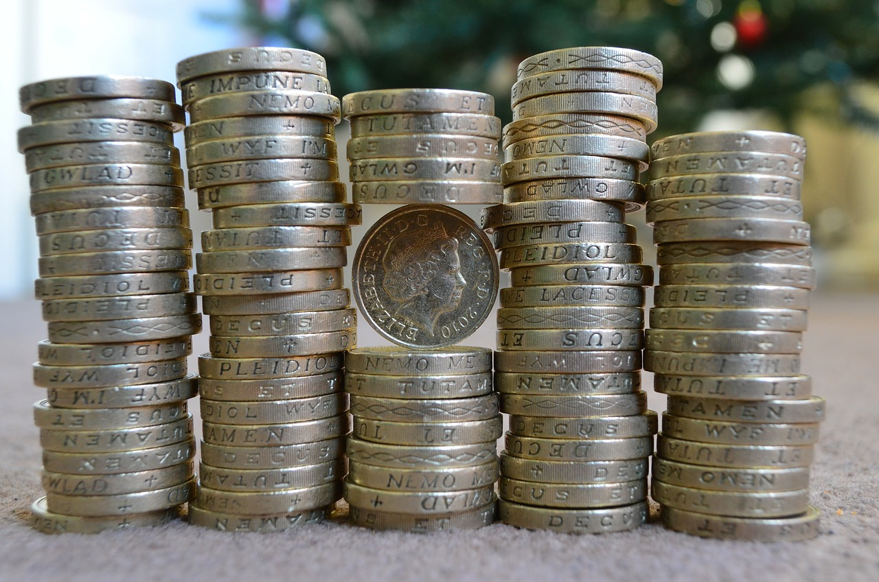 Image of stacked up pound coins